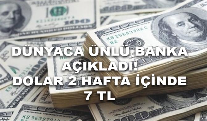 Dünyaca Ünlü Banka: Dolar İki Hafta İçinde 7 Lirayı Zorlar!